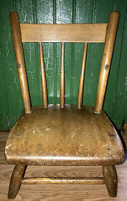 Early Primitive Folk Art Child Or Doll Chair Hand Carved Wood AAFA Squatty