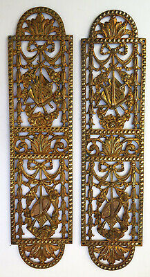 A Pair Of Ornate Classical Antique Gilt On Brass Door Finger Plates