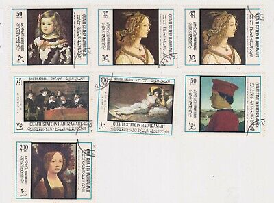 (K188-147) 1967 HADRAMAUT mix of 7stamps paintings (ES)