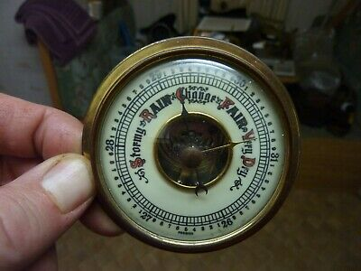 Nice Old Aneroid Barometer Insert Movement Etc Complete - Working Fine (Cv)