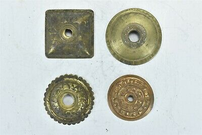 Antique LOT of 4 VICTORIAN PRESSED BRASS DRAWER ESCUTCHEON ROSETTE HARDWARE 8361