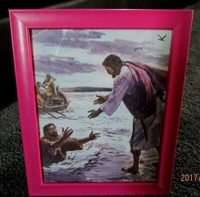 Jesus Rescuing Peter!  Vintage Sunday School Lithograph. Colorful!