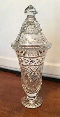 Vintage Bohemian Czech Cut Crystal Urn Compote & Lid