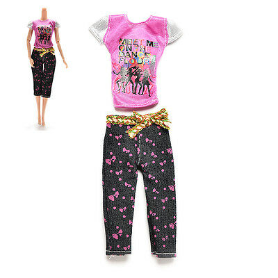 2 Pcs/set Female Doll Clothes for s Fashion Casual T-Shirt Capri Pants ZY