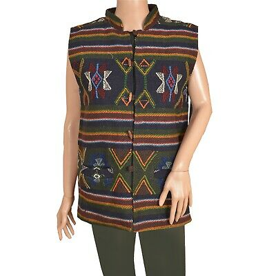 Tcw  Vintage Fabric Woolen Hand Embroidered Jacket Top Fashion  Blue