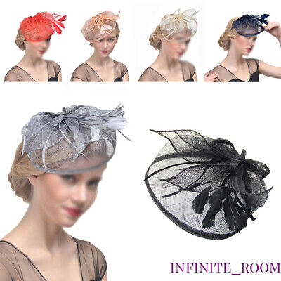 Ladies Flower Hair Clip Feathers Top Hat Fascinator Royal Ascot Race Wedding UK