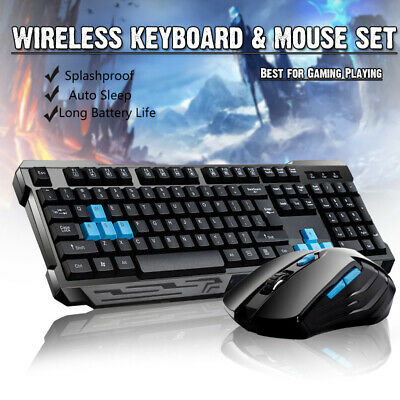 2.4G Wireless Gaming keyboard and Cordless Optical Mouse Computer PC Multimedia