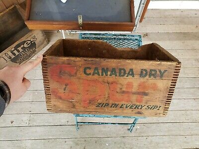 Vintage Spur Canada Dry Ginger Ale Wood Crate Tote