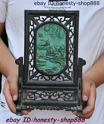Collect Old China Rosewood Wood Inlay Stone Carving Floor Folding Screen Statue
