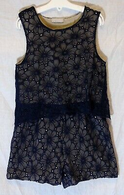 Girls Matalan Blue Floral Lace Layer Short Smart Sleeveless Playsuit Age 9 Years