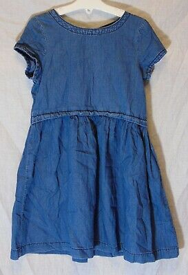 Girls Next Mid Blue Soft Denim Short Sleeve Ruched Flared Dress Age 6 Years