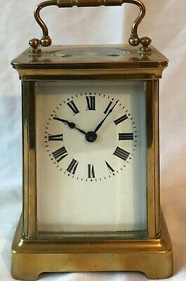 Vintage French Brass & Bevelled Glass Carriage Clock