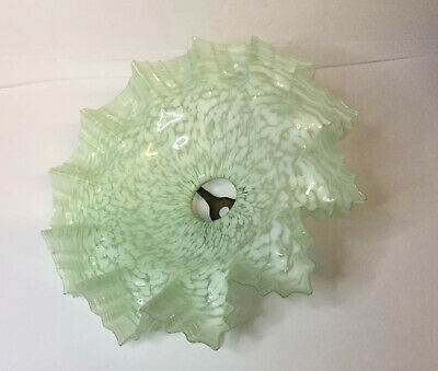 Original Victorian Vaseline Glass Lamp Light Shade With Fitting 11""
