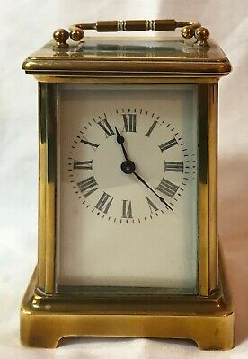 Beautiful Vintage French Brass & Bevelled Glass Carriage Clock