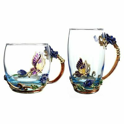 Flower Tea Coffee Cup Set Enamel Glass Mug With Spoon For Hot And Cold Drinks