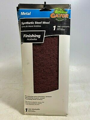 """5x Gator Synthetic Steel Wool Pad for Metal Finishing 4-1/2""""x11"""" 7320 NEW USA"""