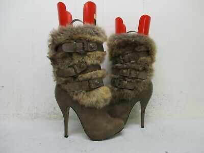 ALDO Light Brown Leather Faux Fur High Heel Mid Calf Boots Womens Size 37 EUR