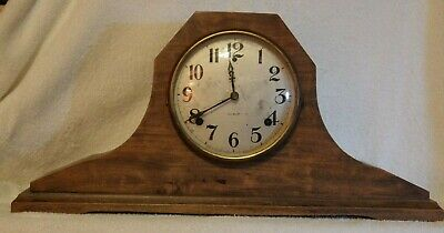 Antique GILBERT 1807 Mantle Shelf Clock Wood Double Chime Works!