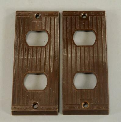 2 Rare Vintage Slim  Brown Bakelite Outlet Plates Art Deco P&S Despard Line AB-2