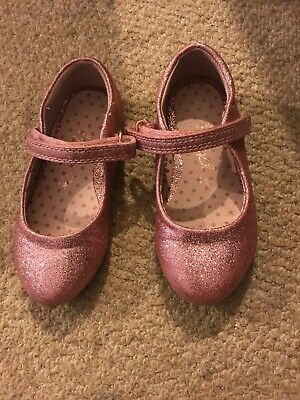 Size 7 Girls Infant Rose / Pink Next Party Shoes Sparkle Velcro