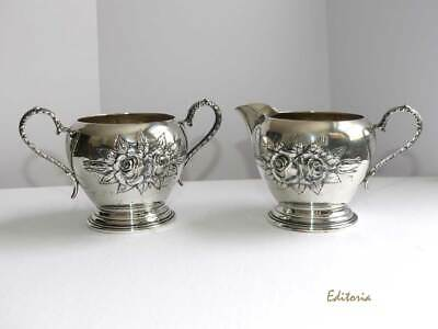STIEFF ROSE Sterling Silver Creamer & Sugar Bowl Set Repoussé & Hand Chased KIRK