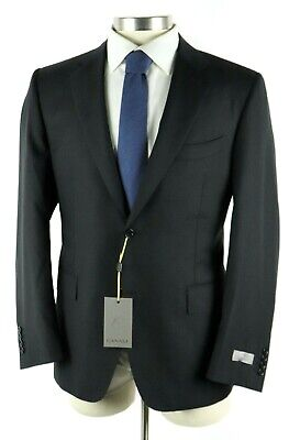 NWT Canali 1934 Black Textured Wool Two Button Suit 42 R Classic Fit 52 EU Italy