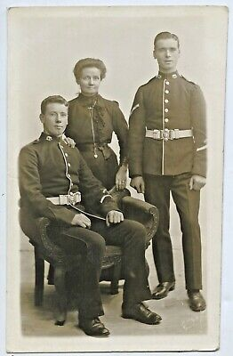 Military Dublin Kings Studio Rp Postcard 2 Soldiers In Uniform With Mother H6