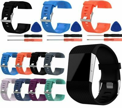 Silicone Sport Watch Band Wrist Strap Wristband +Tool Set For Fitbit Surge Watch