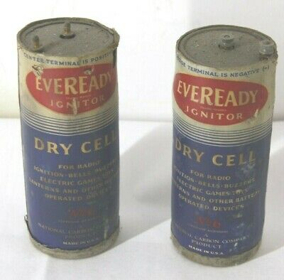 2  -Antique Eveready Dry Cell Battery Telephone, Radio, Lantern