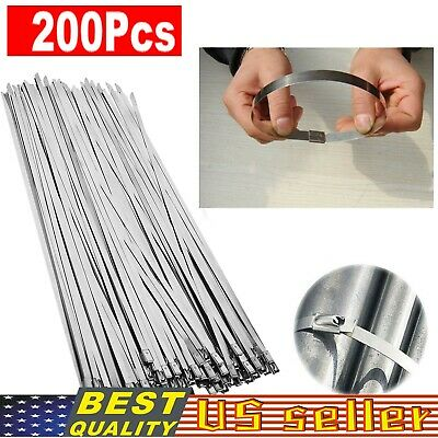 50PCS Stainless Steel Ball Lock Zip Ties Straps Exhaust Header Wrap Bands Cable
