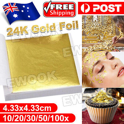 UpTo 100x Pure 24K Edible Gold Leaf Sheets Cooking Framing Art Craft Decorating