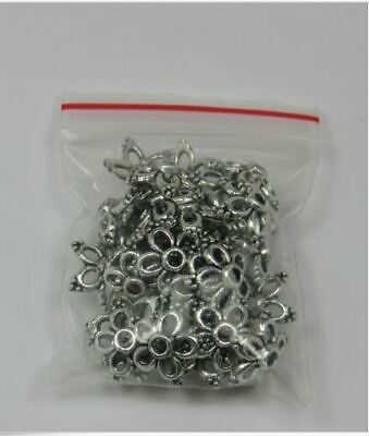 Antique Silver Flower Bead Caps - Lot of 40