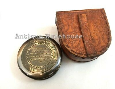 Antique Solid Brass Camping Compass Nautical Pocket Compass With Leather Case