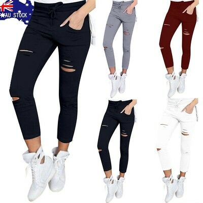 AU Women Denim Skinny Ripped Pants High Waist Stretch Jeans Slim Pencil Trousers