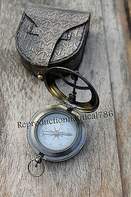 Antique Brass Pocket Compass With Leather Case Vintage Marine Compass Gift Decor