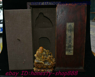 Collect Old China Shoushan Stone Damo Buddha imperial Seal Stamp Signet Wood Box