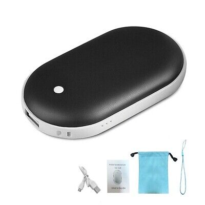 Pocket Hand Warmer Heater Mini USB Charger Rechargeable 5200mAh Power Bank Black