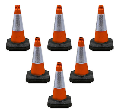 "PACK OF 6 Road Traffic cones 18"" (500mm) Self weighted Safety Heavy Duty !!"