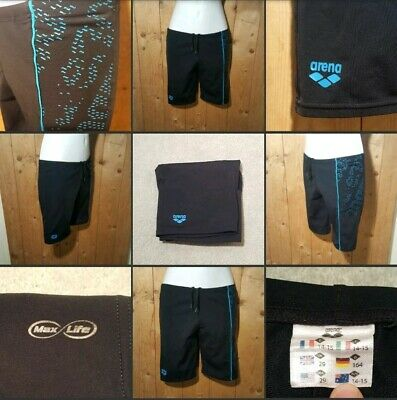 *Used* Lovely Black & Blue Swim Trunks~Beach Shorts▪ARENA▪14-15 Yrs~Or Ladies XS