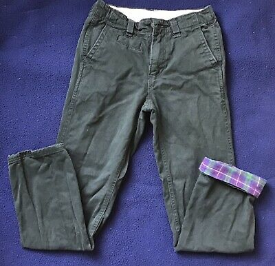 GAP Boys Flannel Lined Emerald Green Chinos Size 12 Slim Adjustable Waist: EUC