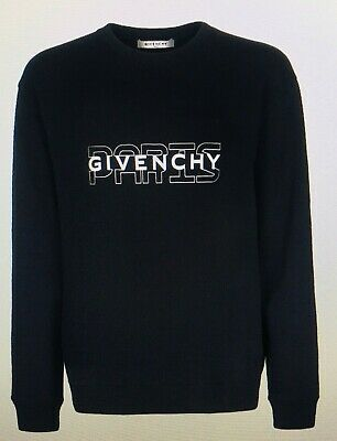 Details about Givenchy Mens Black Hoodie With Contrasting Stripes Paris Logo Designer Hoody