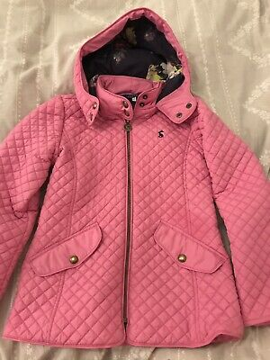 Pink Girls Joules Coat Age 9-10 Years Quilted With Hood