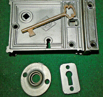 1869 RUSSELL & ERWIN RIM LOCK w/KEY & KEEPER: RECONDITIONED - NICE  (12773)
