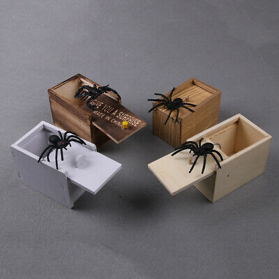 Novelty Wooden Prank Spider Scare Box Hidden in Case Trick Play Joke Gag Gift
