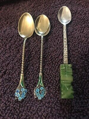 3 Antique Sterling Silver Spoons - 1 Jade .925 2 Floral .808