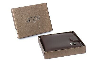 Brownn RFID BLOCKING Mens Real Leather Wallet Coin Pocket Pouch ID Window