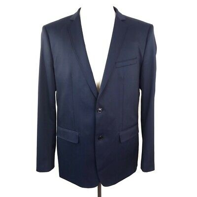 Zara Man Basic Mens Two Button Suit Jacket Navy Blue Stretch Flap Pockets 46 New
