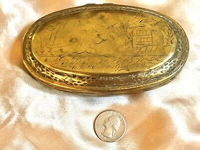 Antique Dutch Brass Snuff Box Intricate Wriggle work Engraved Snuffbox c.1700s.