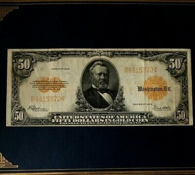 SERIES of 1922 $50 Gold Certificate Note VF Large FR 1200 Rare