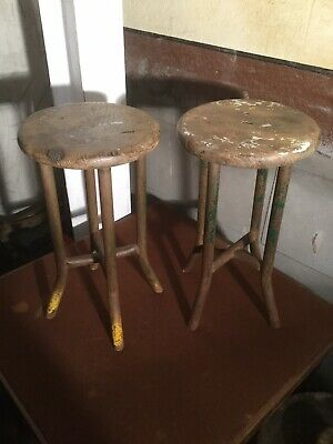 Pair Of Small Vintage Machinists Stools